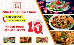 Pao Quán khuyến mại 10% trên tổng hoá đơn cho khách đặt bàn trước