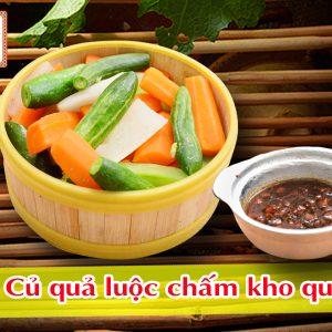 Củ quả luộc chấm kho quẹt Pao Quán