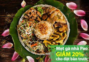 Mẹt gà hấp hương sen giảm 20% cho khách đặt bàn trước tại Pao